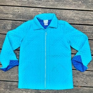 Quacker Factory quilted silk bling jacket size XS
